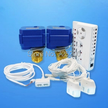 """Great Promotion High Quality Russia Ukrain Smart Home Water Leakage Sensor Alarm System w Double 1/2"""" Motorized Valve(DN15*2pc)"""