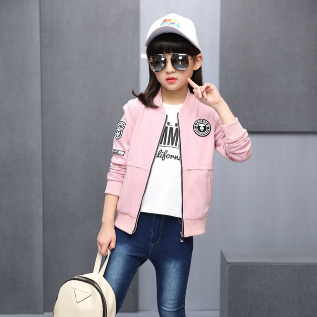ca649971566 Hot Selling 2017 spring and autumn new children Korean high quality girls  jacket 6-12 year old girls leisure sports jacket