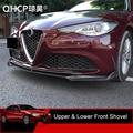 QHCP автомобильный передний бампер спойлер крышка диффузора Защитная Наклейка украшение из углеродного волокна аксессуар для Alfa Romeo Giulia 2017