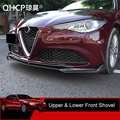 QHCP Car Front Bumper Spoiler Lip Diffuser Cover Protective Sticker Decoration Carbon Fiber Accessory For Alfa Romeo Giulia 2017