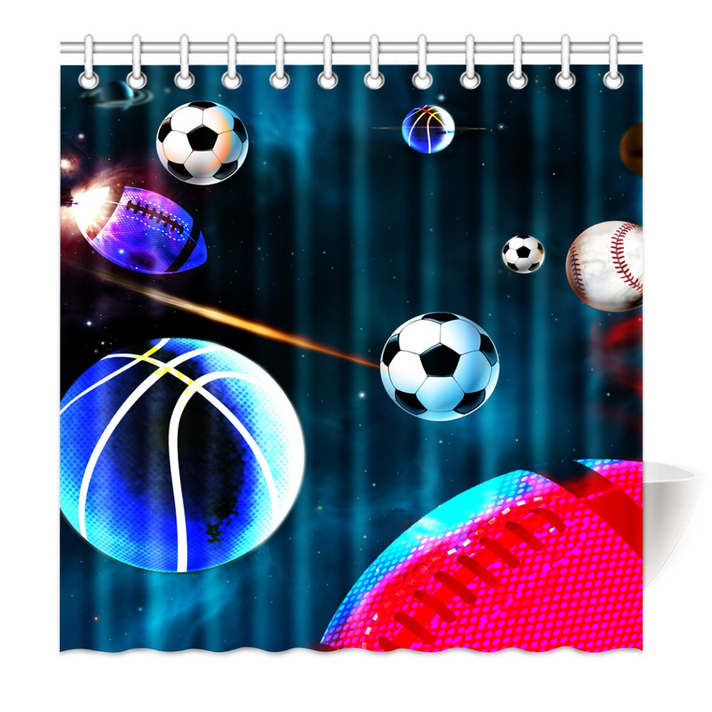 Shower Curtain Creative Novelty Galaxy Ball Soccer Basketball Ball Waterproof Mildewproof Polyester Fabric Bath Curtain Set