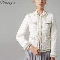 2020 Spring New Fashion Tweed Jacket Women White Solid O Neck Runway Jacket Designers Slim Prarls Jackets Long Sleeve