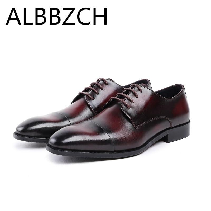 New derby men shoes genuine leather wedding dress shoes men's fashion packwork high grade business office work career man shoes