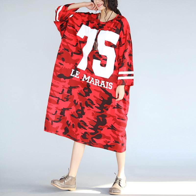 4XL 5XL 6XL 7XL Plus Size Women Clothing Women's Fashion Red Camouflage Print Street Style Loose Dresses T shirt Dress QZ1115