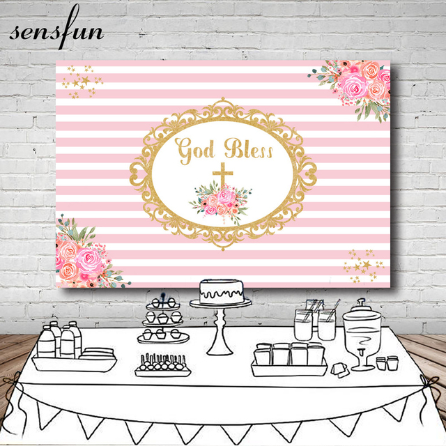 Sensfun Baby Shower Baptism Pink White Striped Backdrop Flowers Gold Frame Gold Bless Photography Backgrounds For Photo Studio