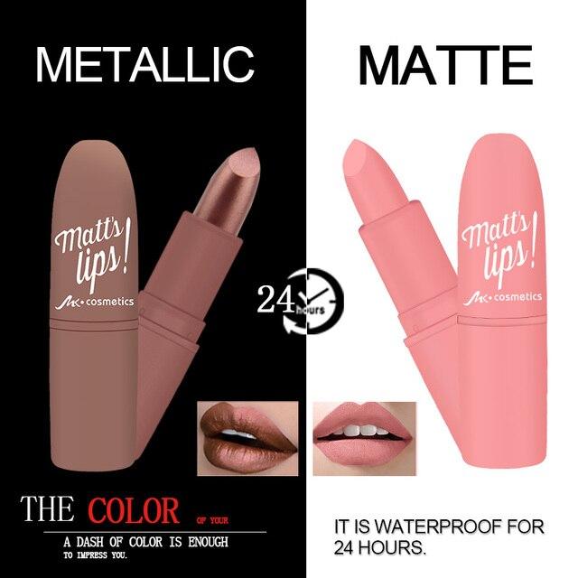MK impermeable de larga duración metálico mate pintalabios 16 colores labios maquillaje cosméticos brillo de labios mate Batom