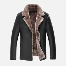 3 Color Men's Leather Jackets Winter Thickening Warm Men Fur Clothing Single-breasted Casual Suit Collar Leather Jacket Men Coat
