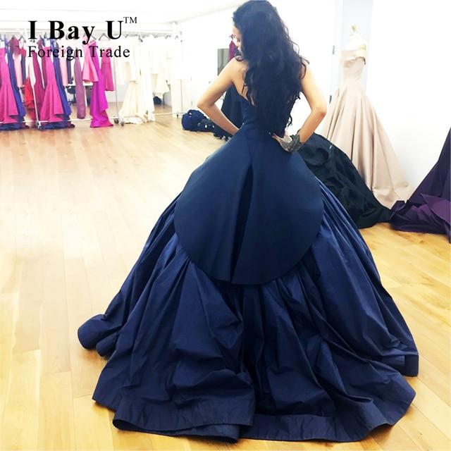 I Bay U Dark Blue Sweetheart Puffy Long Evening Dresses Robes De