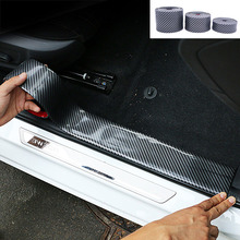 2.5 meter Car Style Carbon Fiber Pattern Decoration Anti-scratch Door Pedal Rear trunk Lid Front Bumper Protector Sticker