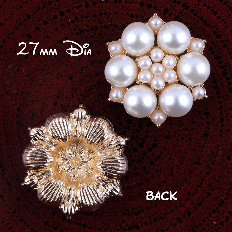 20pcs lot 27MM Gold Vintage Metal Full Pearl Buttons For Flower Centre  Decorative Flatback Buttons For Wedding Embellishment 646c5431f4a8