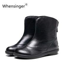 Whensinger 2016 Women Boots Spring Summer Female Full Grain Leather Ankle Handmade Elegant Fashion Round Toe 829-1