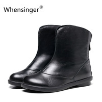 Autumn And Winter Comfortable Sen New Handmade Vintage Genuine Leather Women Boots Patent Leather Slip On