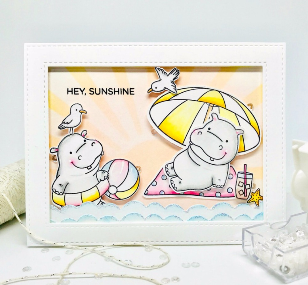Hearty Tpp A Hippopotamus On A Beach Holiday Clear Silicone Stamp/seal For Diy Scrapbooking/photo Album Decorative Clear Stamp Sheets Home & Garden Stamps