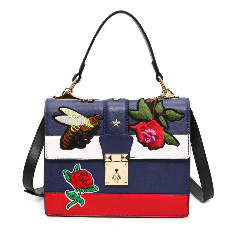 2017 Fashion Vintage Embroidery lady Shoulder Bag Women Floral Bee Embroidered Handbags Ladies Small Lock Crossbody