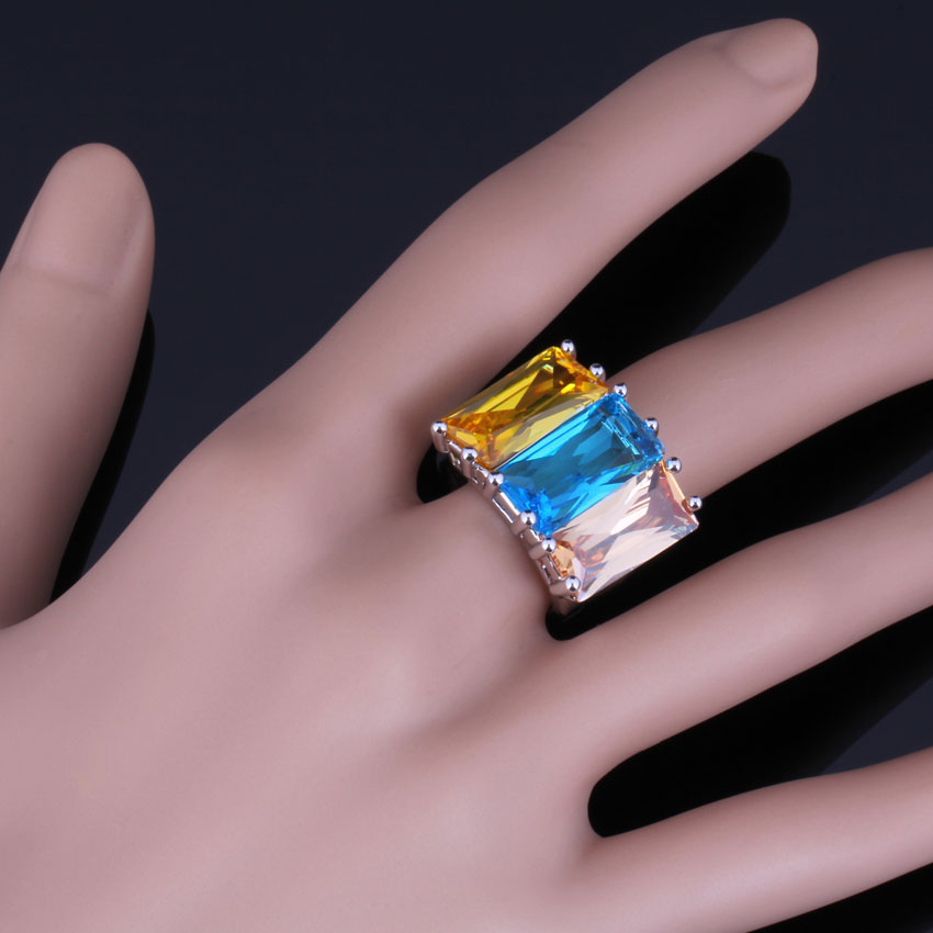 Smooth Huge Rectangle Sky Blue Yellow Brown Cubic Zirconia 925 Sterling Silver Ring For Women V0542 in Rings from Jewelry Accessories