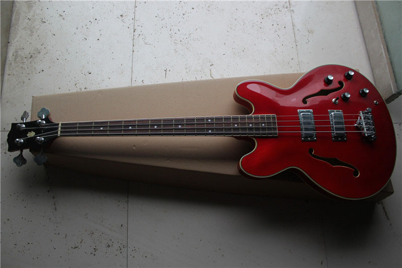 free shipping New Top Quality jazz 335 red 4 strings electric bass guitar 1 2 free shipping new lp 4 strings electric bass guitar bridge in chrome l18