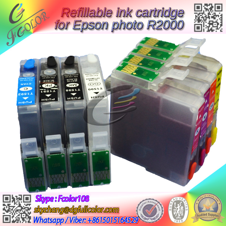 ФОТО Free shiping ! 8colors New refill ink Cartridge with permaent chip for Epson printer stylus photo R2000 ink cartridge