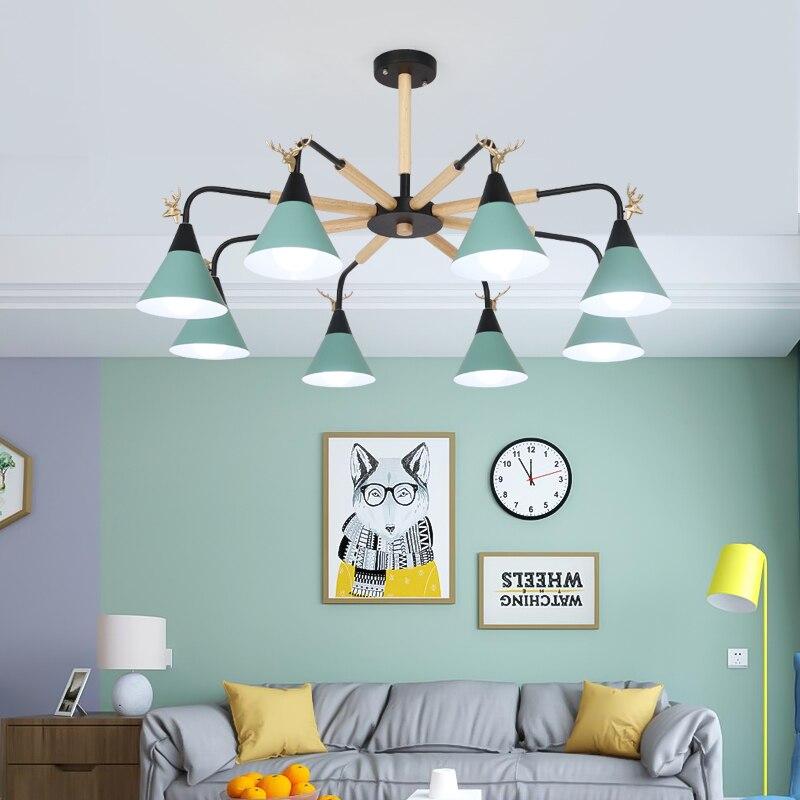 Fanlive Nordic lighting chandelier wood personality modern minimalist style bedroom lamp restaurant light macarons chandelie стоимость