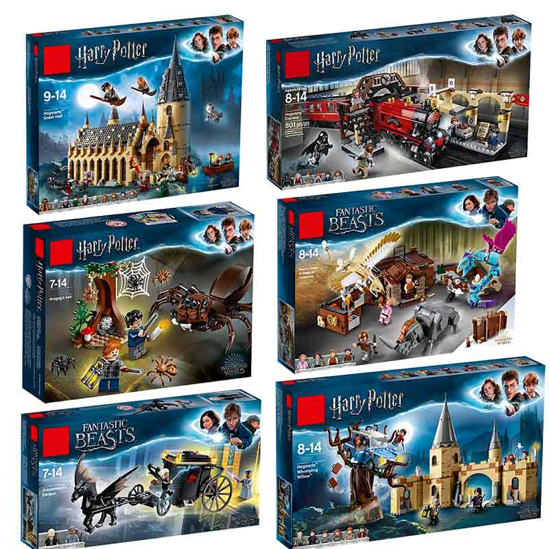 Building Blocks Legoinglys Harry Potter Movie Hogwarts 75954 75952 75953 Great Hall Castle Model 11007 Educational Kids Toys