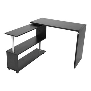 Image 2 - 360 Degree Rotatable L Shaped Corner Computer Office Desk With Book Shelves Home Desk Commercial Furniture
