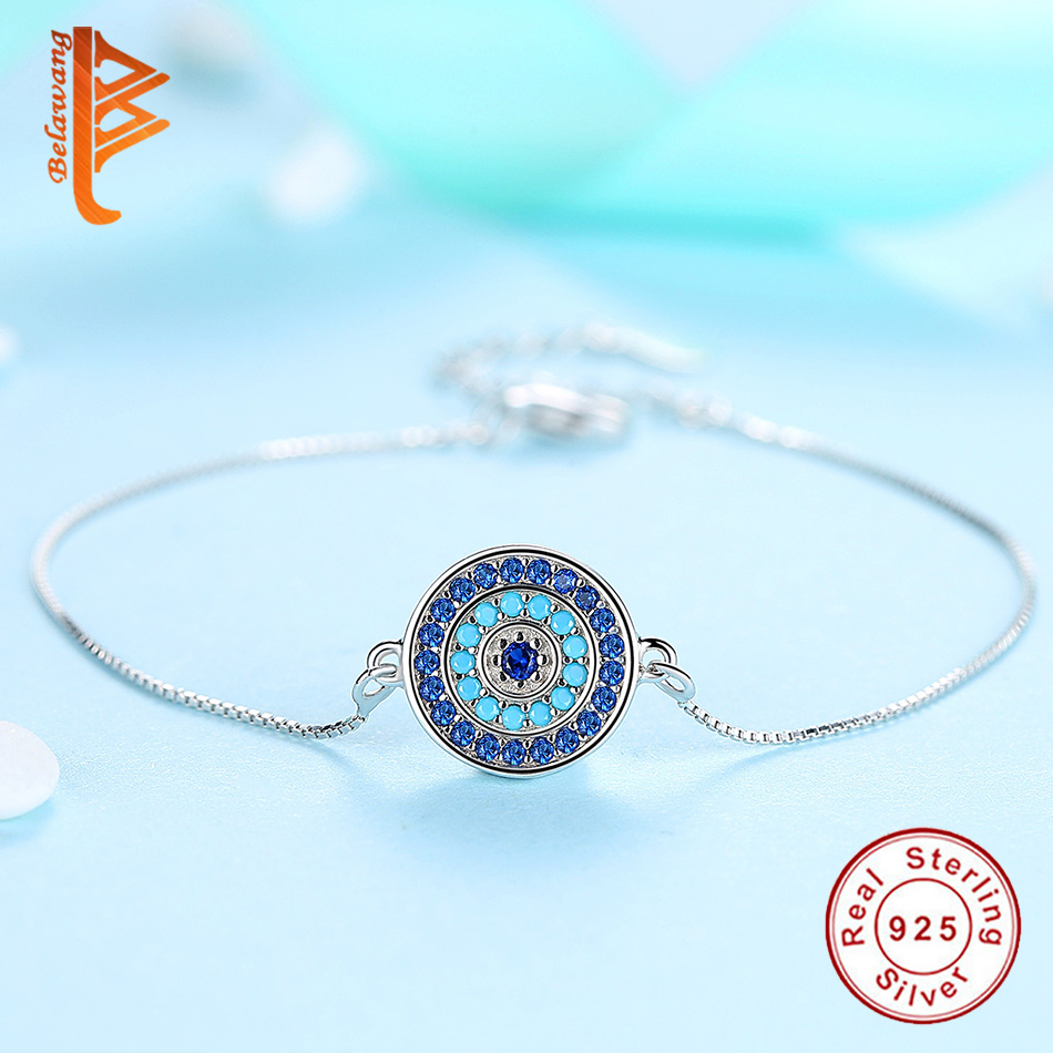 BELAWANG 925 Sterling Silver Jewelry Sets For Women Blue Crystal Lucky Eye Necklace Bracelet Earrings Sets Wedding Party Gift-in Jewelry Sets from Jewelry & Accessories    3