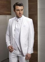 Custom Made New Style Groom Tuxedos Notch Lapel Men's Suit White Groomsman/Bridegroom Wedding/Prom Suits (Jacket+Pants+Tie+Vest)