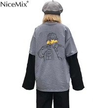 NiceMix Harajuku T-shirt Women Tops Patchwork Fake 2 Pieces TShirt Print Character Pullovers Streetwear Pull Femme Jersey