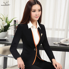 2018 Autumn Winter Women's long-sleeve blazer plus size OL office formal female suit jacket work wear slim Patchwork outerwear
