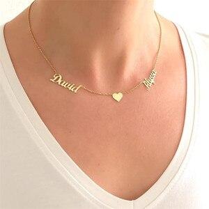 Image 4 - Niestandardowe dwie nazwy naszyjniki dla kobiet z naszyjnik w kształcie serca ze stali nierdzewnej złoty wisiorek naszyjniki spersonalizowane Choker biżuteria BFF