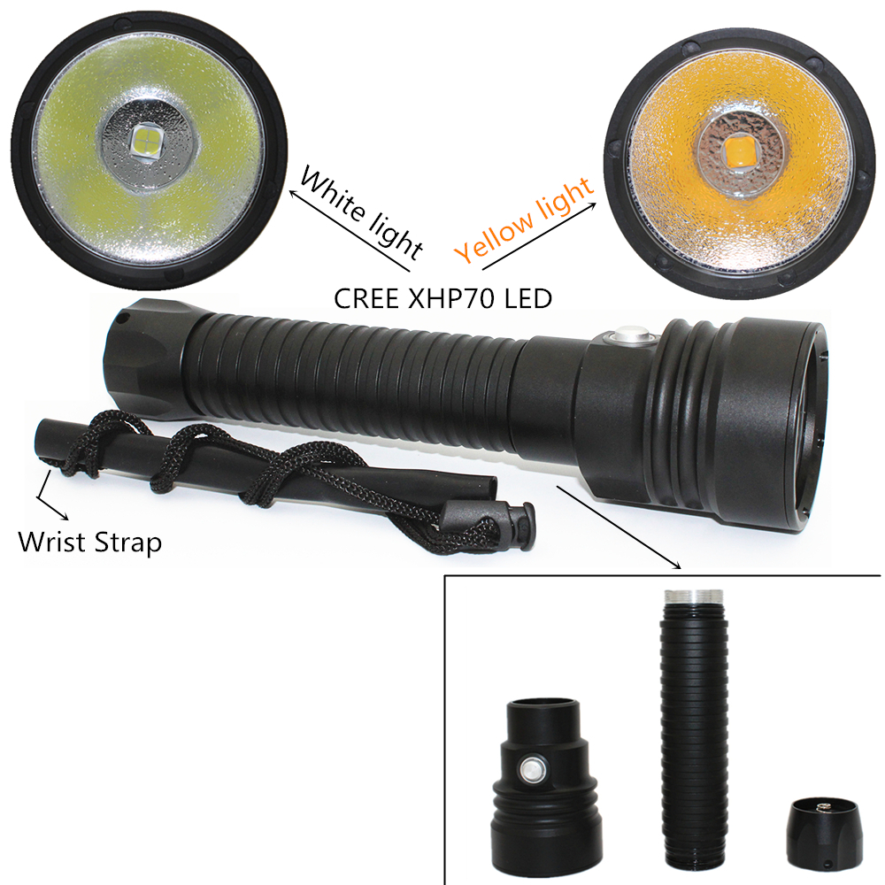 Updated LED Diving Flashlight XHP70 4000 Lumens Yellow Light Underwater 100M Waterproof Scuba Torch 26650 Battery