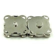 50Sets Silver Tone Plum Blossom Shape DIY Purse Handbag Closure Magnetic Clasps 19x19mm