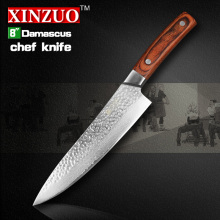 "XINZUO 8 "" chef knife senior meat/vegetable knife 67 layer Japanese Damascus steel kitchen knife Color wood handle free shipping"
