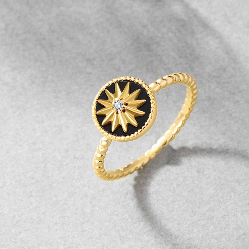 E jóias 100% 925 prata esterlina estrela anéis para mulher 18 k banhado a ouro prata preto ágata gemstone anel moda jóias 2019
