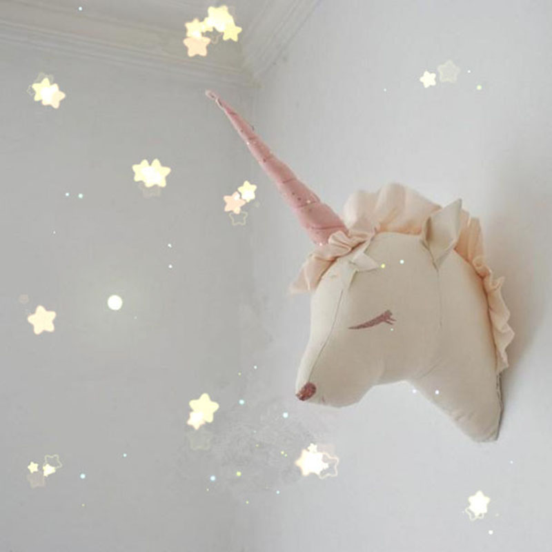 3d White Deer Unicorn Swan Stuffed Animal Head Decor Baby
