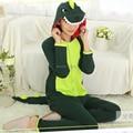 Green Dinosaur Soft Cotton Cartoon Animal Pajamas Adult Unisex Onesie Halloween Costume Christmas Party Toilet Version