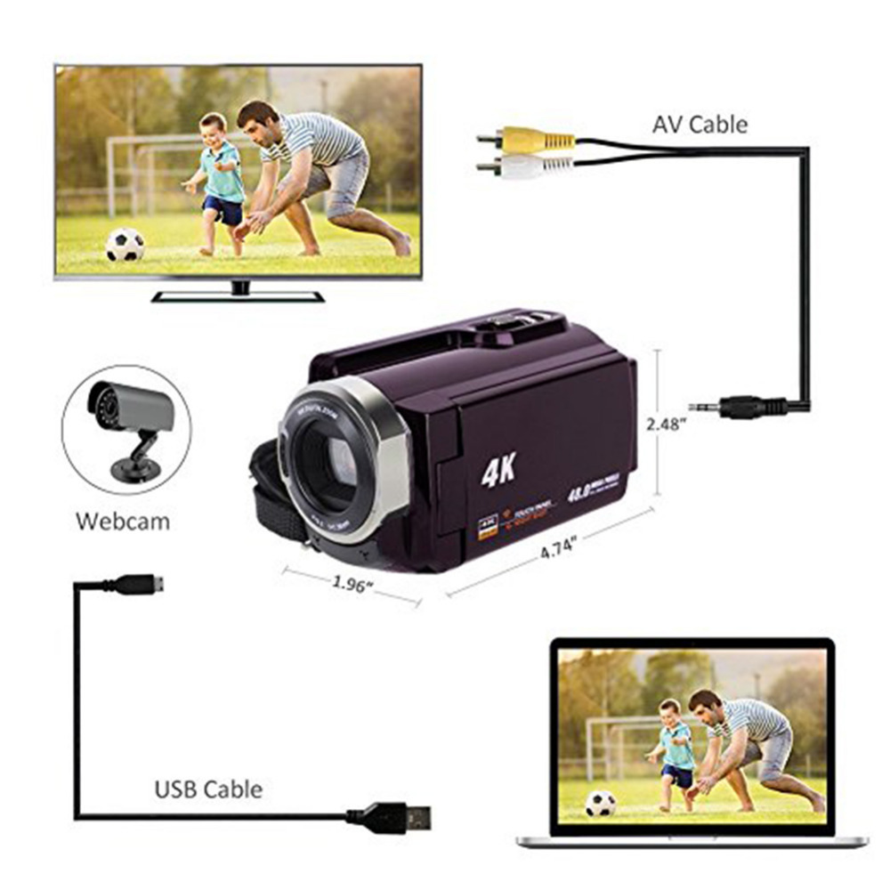 HTB1.u4FjdzJ8KJjSspkq6zF7VXaF New 4K Camcorder Video Camera Camcorders Ultra HD Digital Cameras and Video Recorder with Wifi/Infrared Touchscreen Angle Lens