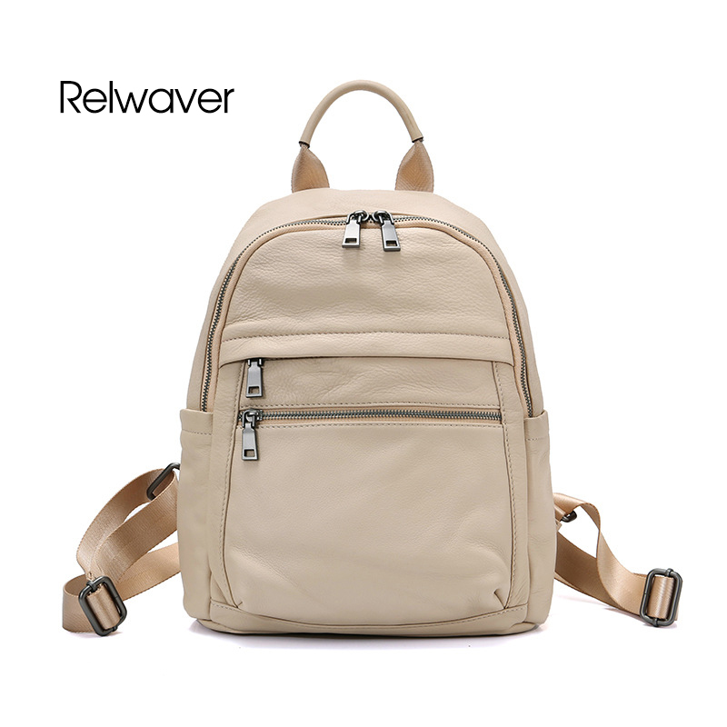 Relwaver leather backpack natural cow leather soft zipper school bags big capacity travel beige black blue men women backpackRelwaver leather backpack natural cow leather soft zipper school bags big capacity travel beige black blue men women backpack