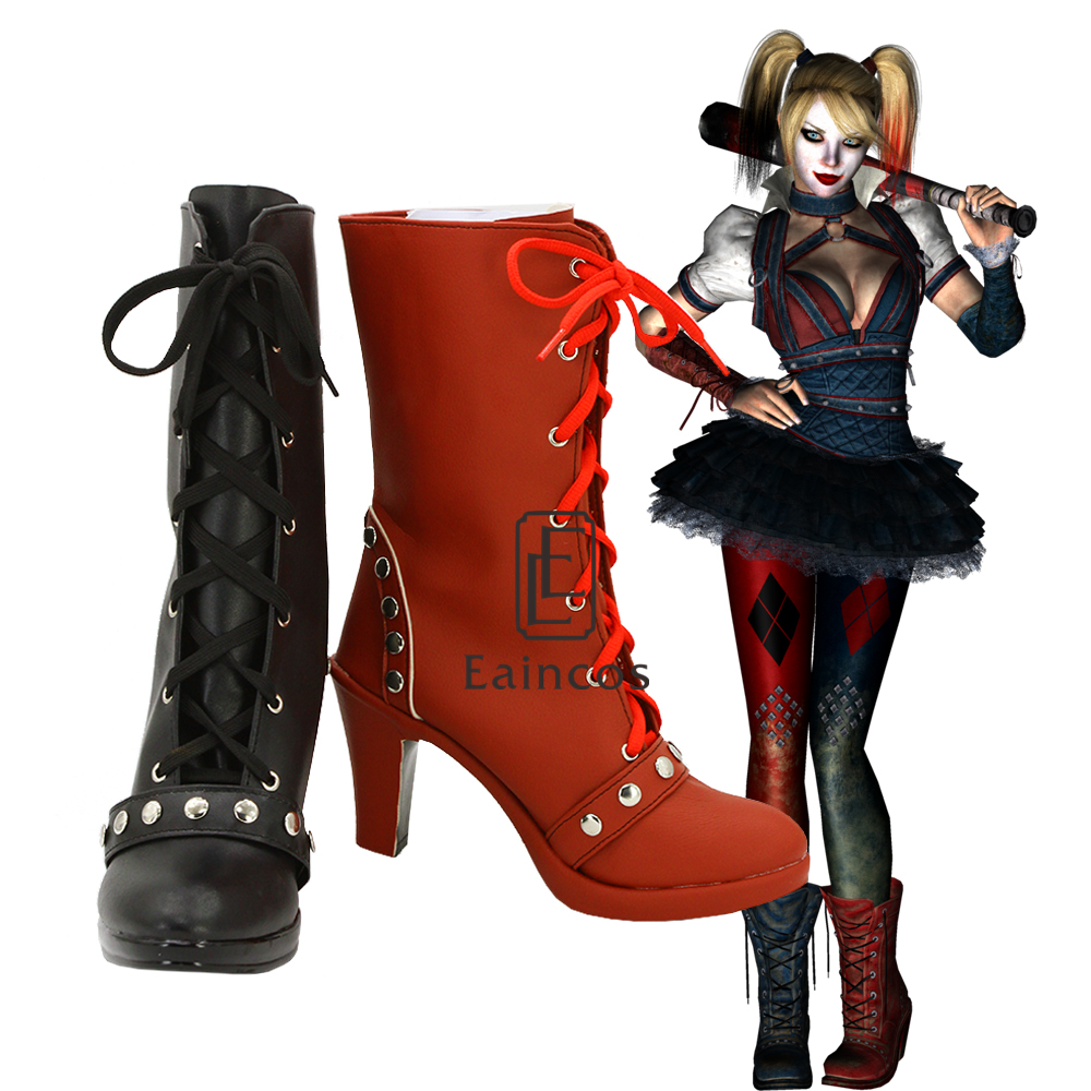 Batman Arkham Knight Harley Quinn Cosplay Party Shoes Women Black and Red Short Fancy Boots Custom