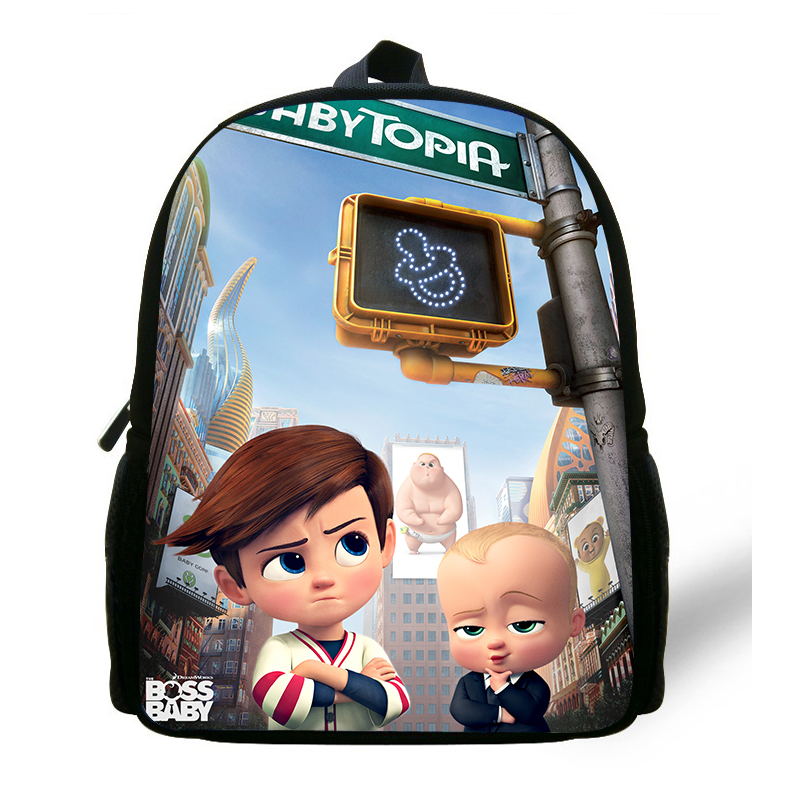 Newest 12 inch Cartoon The Boss Baby Print Backpack Small School Bags for Boys Schoolbags for Kids Baby Cartoon Book Bag Mochila japan pokemon harajuku cartoon backpack pocket monsters pikachu 3d yellow cosplay schoolbags mochila school book bag with ears