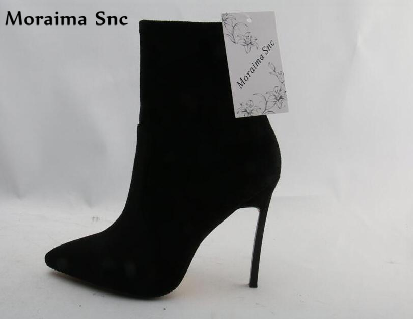 Moraima Snc Newest Pointed Toe High Heel Boots 2018 Sexy Ankle Boots for Woman Thin Heels Black Suede Boots moraima snc chic women winter platform pointed toe mid calf boots solid black lace up fringe vintage suede high heel