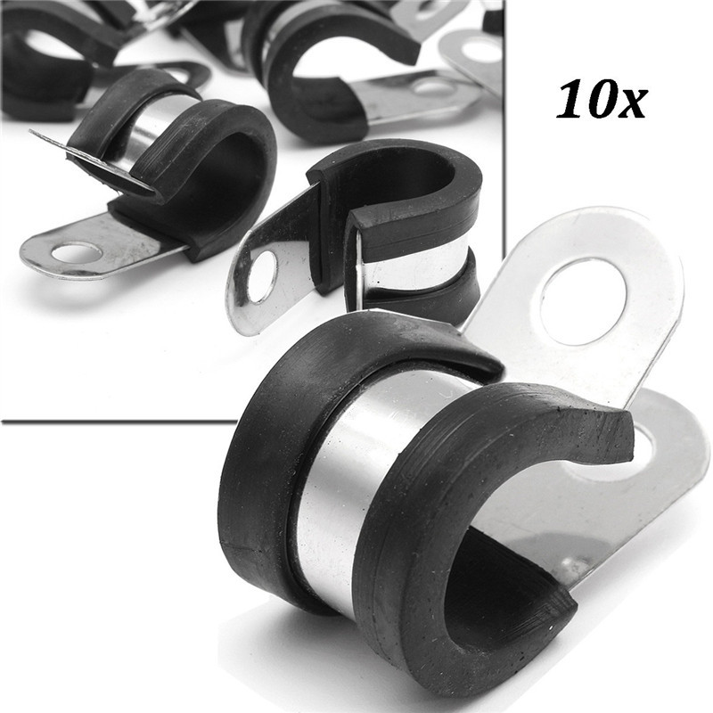 P Clips Metal Clamps Retaining Hose Cable Kit 6-10mm 10x Rubber Lined P Clips
