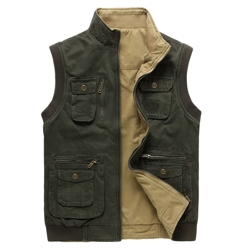 M~3XL 2015 Autumn Spring Reversible Casual Men Vest Coat AFS JEEP Cotton Pocket Cargo Outdoor Sleeveless Jackets Waistcoat Vests (21)