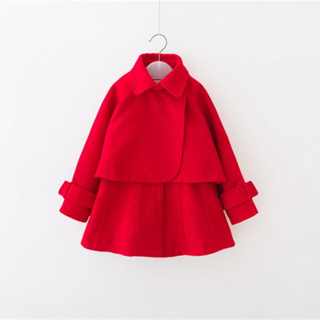 Nueva llegada de la marca de los niños childrens clothing niñas vestido de dos piezas de abrigo de lana de lana pura moda niña establece 5-10y