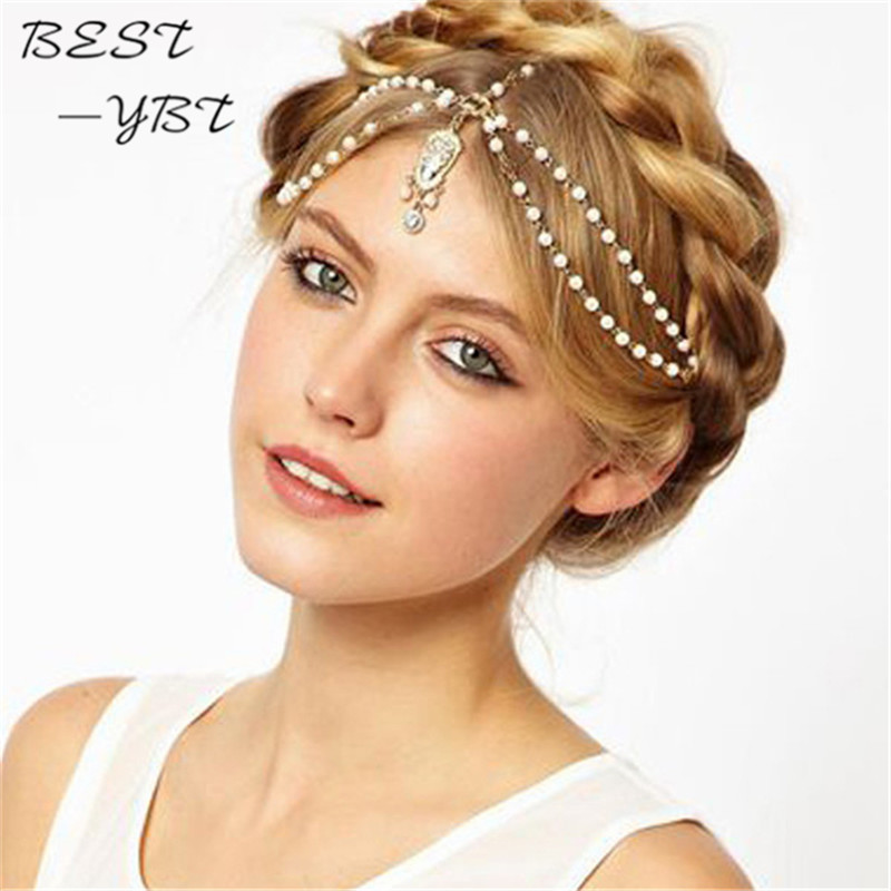 New Boho Women Pearl Gold Wedding Headdress Headband Head Band Crown Chain Headpiece Wedding Accessories Hair Jewelry Headband