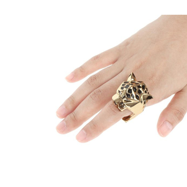 Gold Plated Leopard Statement Ring