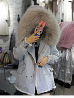 Real Fox Fur Lined Detachable Women Winter Denim Jacket With Large Natural Raccoon Fur Collar Hooded