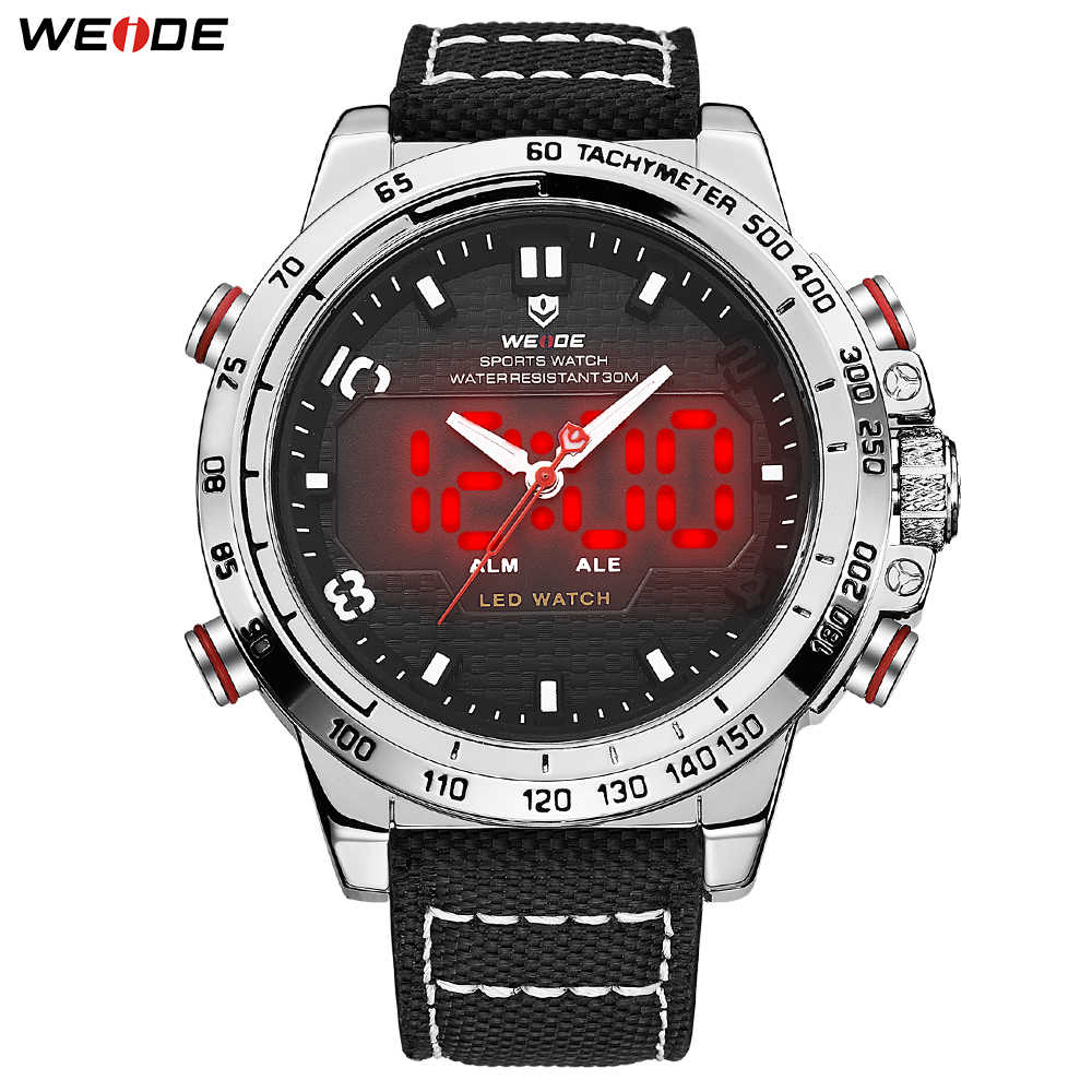 WEIDE Men's Sports Watches Big Dial Alam Date Day Luminous Quartz LED Display Military Nylon Strap Analog Hardlex Wristwatches