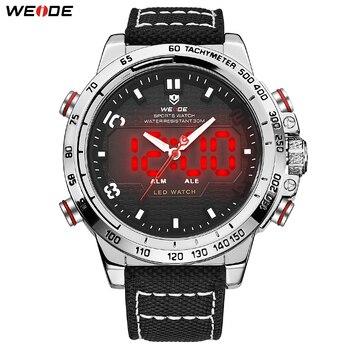 ウェイド男性のスポーツ腕時計ビッグダイヤルアラム日付日発光 Led ディスプレイ軍事ナイロンストラップアナログ Hardlex 腕時計