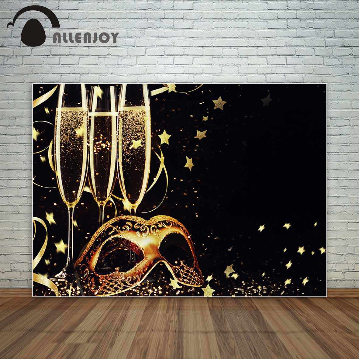 Allenjoy golden and black Masquerade mask and champagne stars and ribbons backdrop background vinyl new photographic backdrops