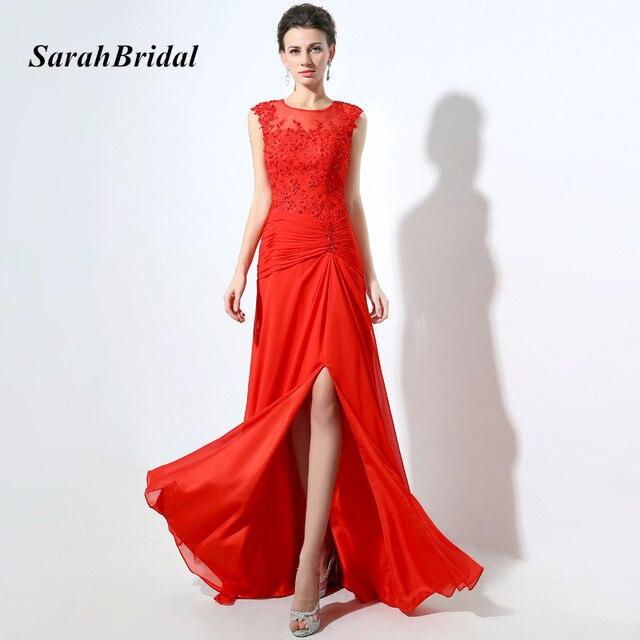 eb748de59 Elegante vestido de encaje con lentejuelas apliques superior largo vestidos  de noche con rojo Chiffon hendidura
